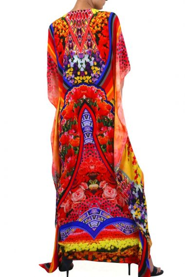Long Caftan Dress in Floral Print