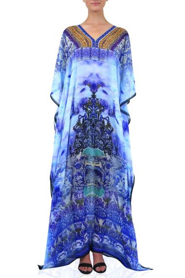 Blue-caftan-dress-printed-caftan-V-neck-caftan