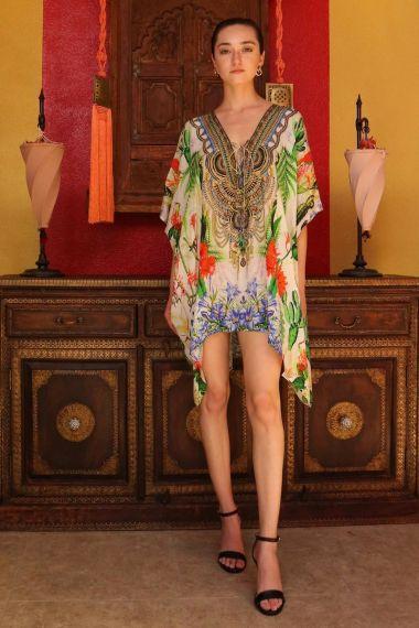 Printed-caftan-dress-in-short-Floral-print-dresses-Floral-print-Caftan