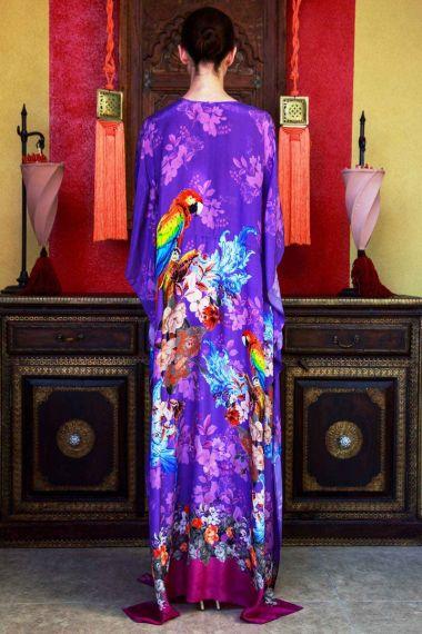 Designer-Bird-Print-Long-Caftan-Dress