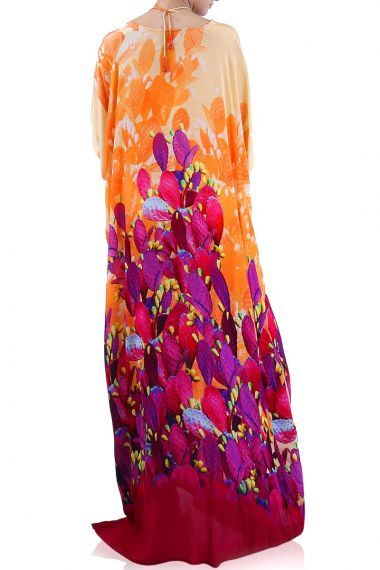 Designer-Long-Plant-Print-Dress
