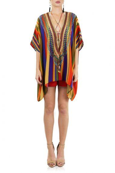 Designer-Rainbow-Stripe-Print-Short-Caftan-Dress