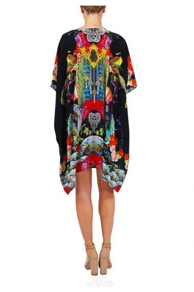 Designer-Short-Caftan-Dress-For-Women-In-Geisha-Print