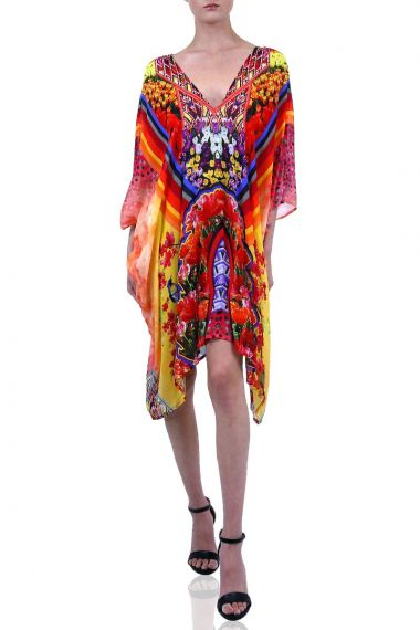 Floral-Print-Caftan-In-Mixed-Color