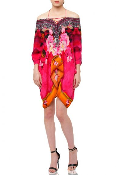 Floral-print-short-silk-caftan-in-fuchsia