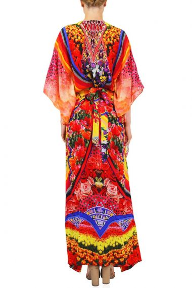 Silk-V-Neck-Long-Caftan-Dress