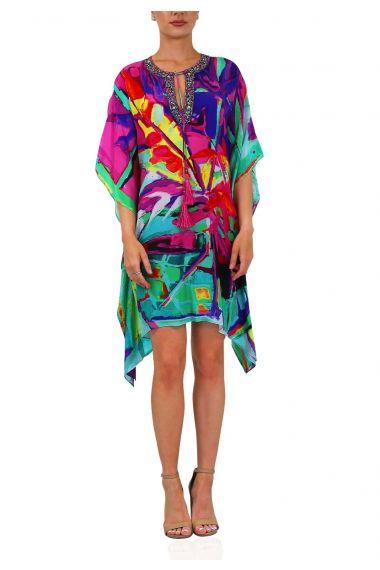 Embellished Short Caftan Dress