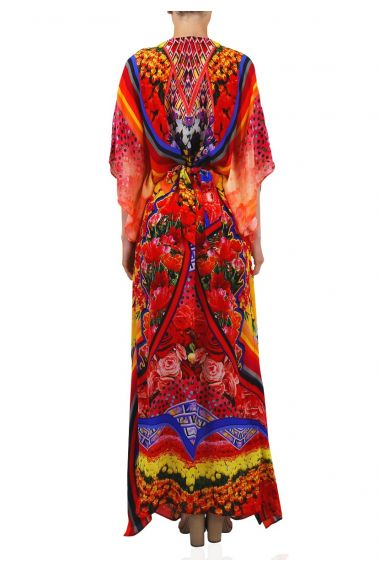Printed-Long-Caftan-Dress-In-Lemon-Drop
