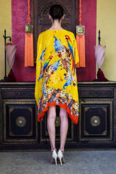 Short-Caftan-Dress-In-Bird-Print