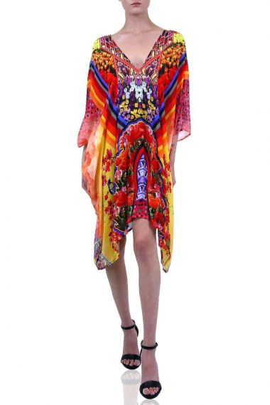 Short-Neck-Tie-Caftan-Dress