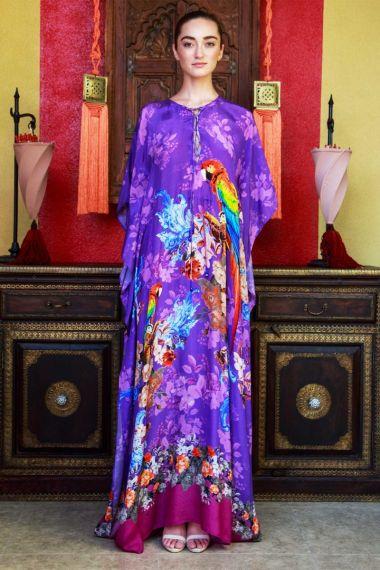 Tropical-Bird-Print-Long-Caftan-Dress-In-Purple
