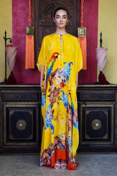 Tropical-Bird-Print-Luxury-Caftan-Dress