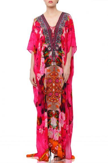 V-neck-Silk-Floral-Caftan-dress-in-long