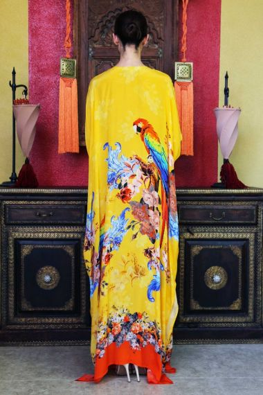 Women's-Long-Caftan-Dress-In-Bird-Print